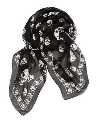 Men's Skull Chiffon Scarf, Black/Ivory