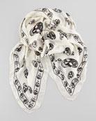 Men's Skull-Print Chiffon Scarf, Ivory/Black