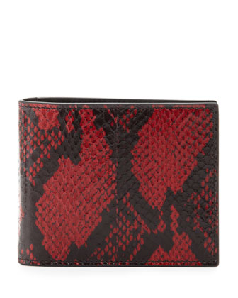 Painted Snakeskin Clip Wallet, Red/Black