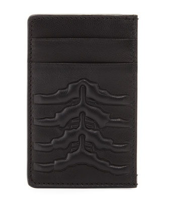 Ribcage-Embossed Card Case, Black