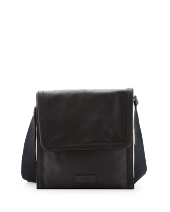 De Manta Leather Messenger Bag, Black