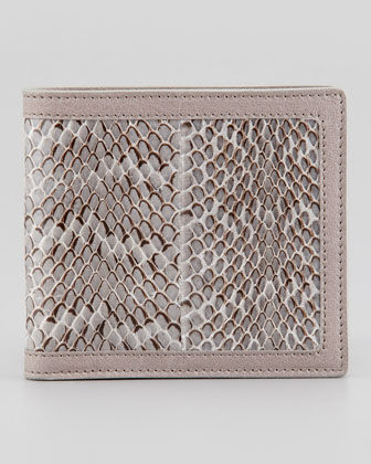 De Manta Men's Snakeskin Wallet, Gray