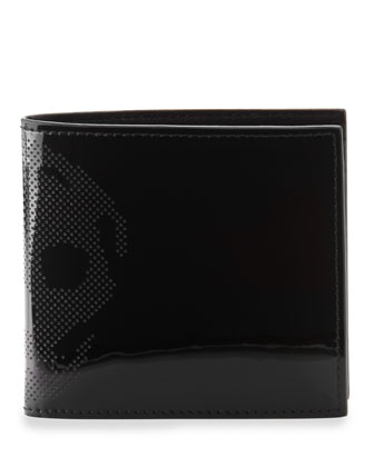 Patent Perforated-Skull Bi-Fold Wallet, Black