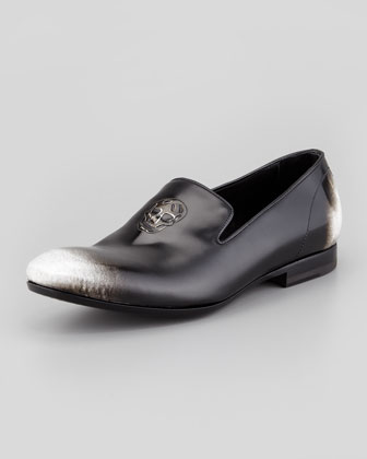 Men's Embossed Skull Loafer, Black/White Ombre