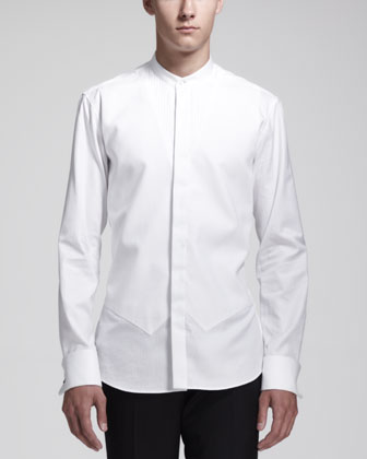 Tuxedo Shirt with Vest Detail, White