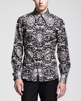 Lace-Skull-Print Dress Shirt, Black/Ivory