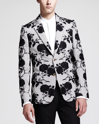 Rose Embroidered Cotton Jacket, Ivory/Black