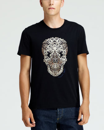 Lace-Skull-Print Short-Sleeve Tee, Black/Oyster