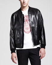 Skull-Embossed Leather Bomber Jacket, Lace-Skull-Print Tee & Wool/Mohair ...
