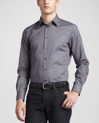 Dot-Print French-Placket Shirt, Navy