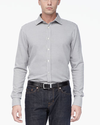 Fitted Long-Sleeve Houndstooth Shirt