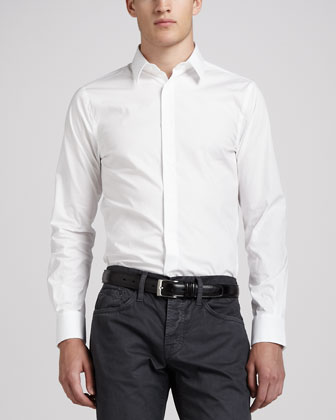 Stretch-Poplin Fly-Front Shirt, White