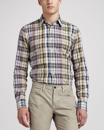 Plaid French-Placket Shirt, Multi