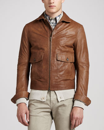 Patch-Pocket Leather Bomber Jacket, Camel