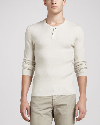 Long-Sleeve Thermal Henley Sweater, H.White