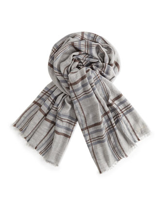 Banbury Cashmere-Silk Plaid Men's Scarf, Gray