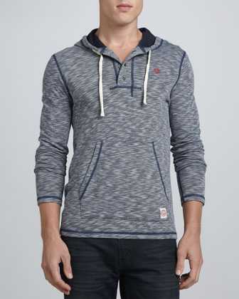 Hooded Henley with Pickstitched Detail, Navy