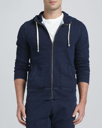 Cotton Fleece Hoodie, Indigo