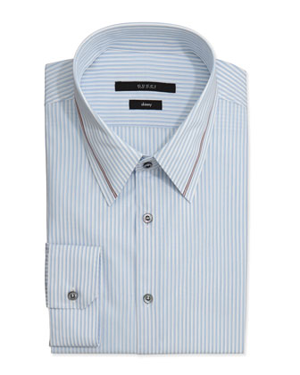 Skinny-Fit Striped Dress Shirt, Light Blue