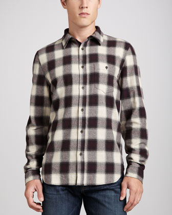 Long-Sleeve Herringbone Shirt, Wine/Pebble