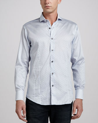 Giorgio Skull-Print Sport Shirt, Light Blue