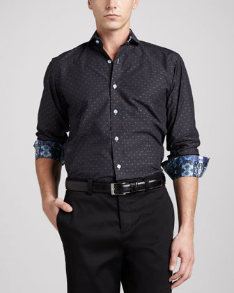 Berry Jacquard Sport Shirt, Black