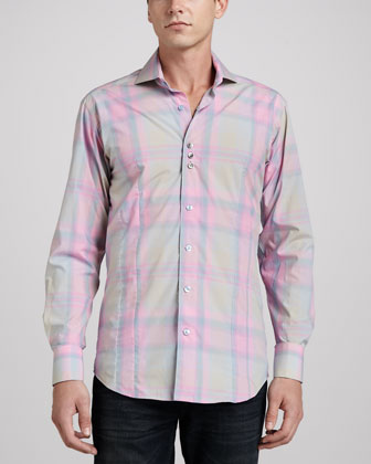 Rey Plaid Sport Shirt, Pink