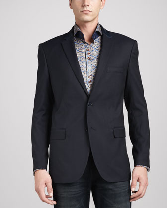 Leather-Trim Jacquard Sport Coat, Navy