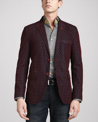 Jacquard Francesco Sport Jacket, Burgundy