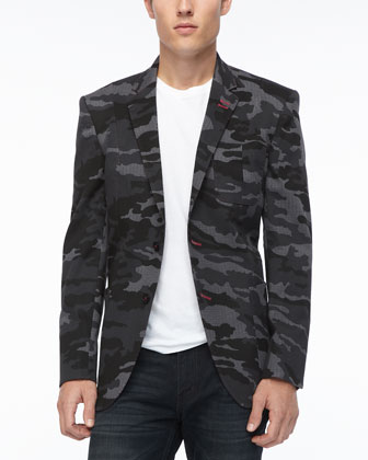 Camo-Print Pop Blazer, Gray