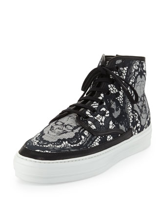Lace & Skull-Print High-Top Sneaker, Black/White