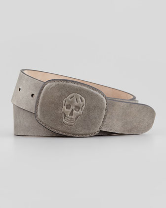 Skull-Embossed-Buckle Belt, Gray