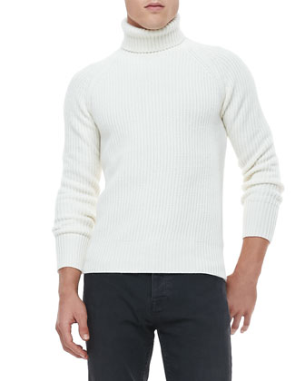 Fisherman-Rib Knit Turtleneck Sweater, White