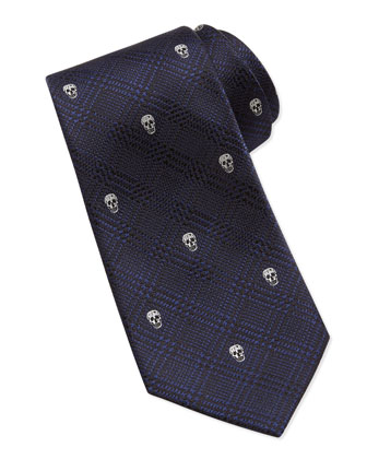 Skull-Embroidered Plaid Silk Tie, Navy/White