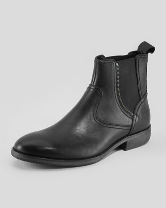 Slip-On Chelsea Boot with Zipper Detail, Black