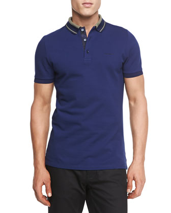 Striped-Collar Pique Polo, Bright Indigo