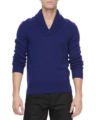 Shawl-Collar Knit Sweater, Lapis Blue