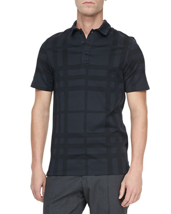 Tonal-Check Short-Sleeve Polo, Black