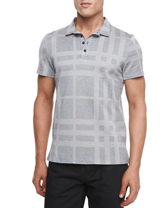 Tonal-Check Short-Sleeve Polo, Light Gray