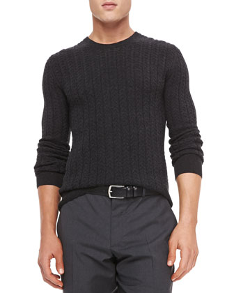 Cable-Knit Pullover Sweater, Charcoal Melange