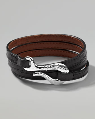 Men's Pelle Sterling-Hook Leather 3-Wrap Bracelet in Black, Size 3