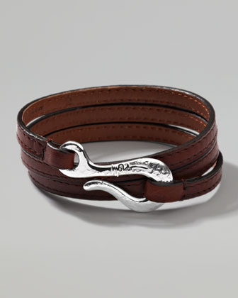 Men's Pelle Sterling-Hook Leather 3-Wrap Bracelet in Brown, Size 3