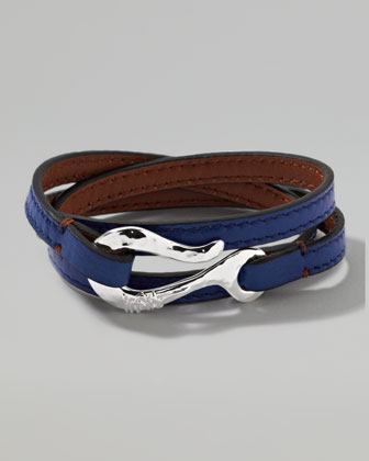 Men's Pelle Sterling-Hook Leather 3-Wrap Bracelet in Blue, Size 3