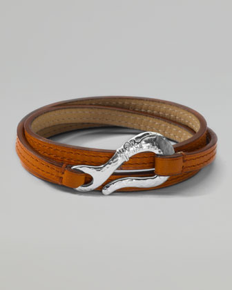 Men's Pelle Sterling-Hook Leather 3-Wrap Bracelet in Tan, Size 3