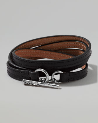 Men's Pelle Sterling-Toggle Leather 4-Wrap Bracelet in Black, Size 3
