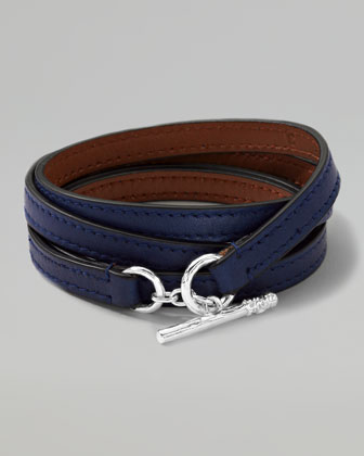 Men's Pelle Sterling-Toggle Leather 4-Wrap Bracelet in Blue, Size 3