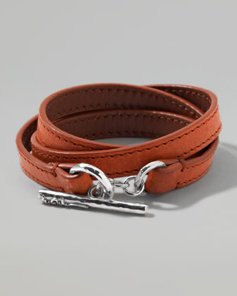 Men's Pelle Sterling-Toggle Leather 4-Wrap Bracelet in Tan, Size 3