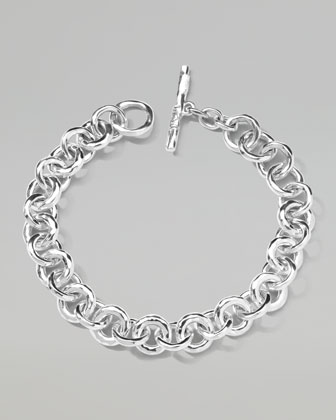 Men's Sterling Silver Hammered Links Bracelet