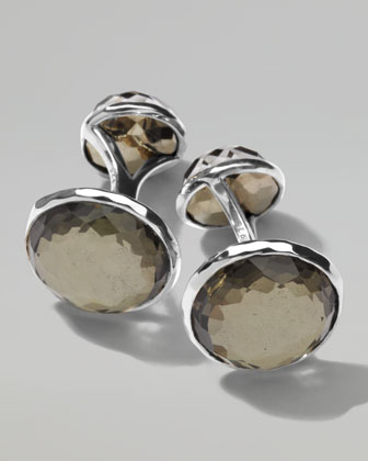 Sterling Silver Lollipop 2-Stone Cuff Links in Pyrite