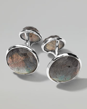 Sterling Silver Lollipop 2-Stone Cuff Links in Labradorite